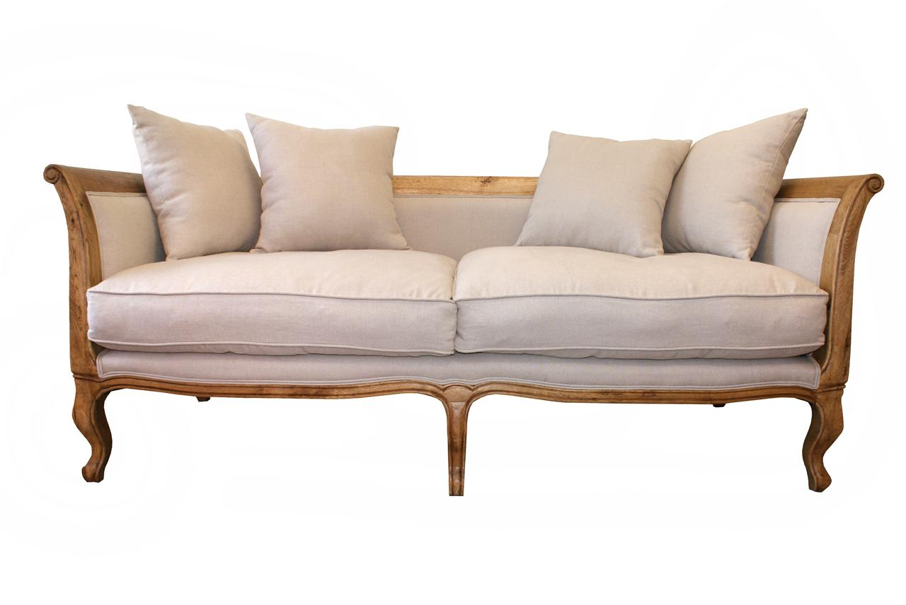 French Provincial Oak Linen Upholstered Sofa Couch Sale Ebay