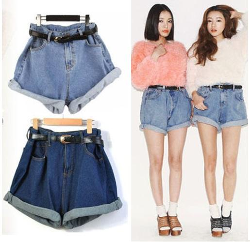 Womens-Girl-Retro-Vintage-Style-Oversize-Crimping-Denim-High-Waist-Jean-Shorts