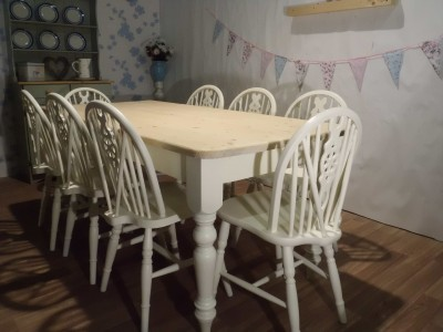 SHABBY CHIC SOLID KITCHEN FARMHOUSE DINING TABLE 8 CHAIRS PAINTED LAURA ASHLE