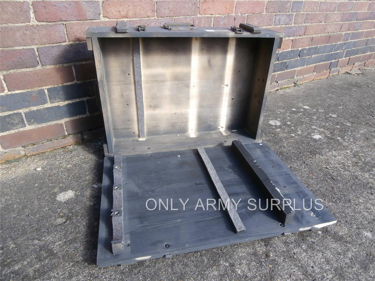 Steel Mortar Boxes : Swiss army wooden storage box tool ammunition