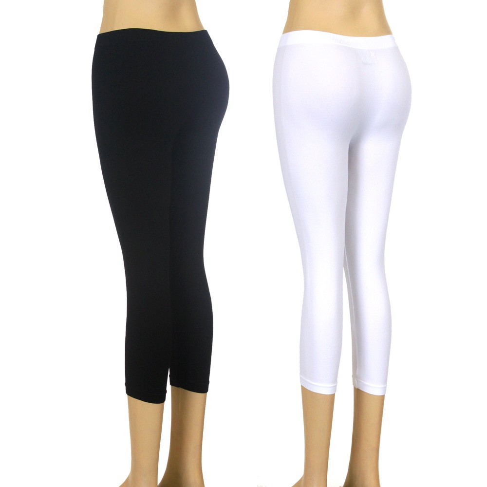 New-Black-White-CAPRI-LEGGINGS-S-M-L-XL-Thick-Solid-Tights-Yoga-Stretch-Pants