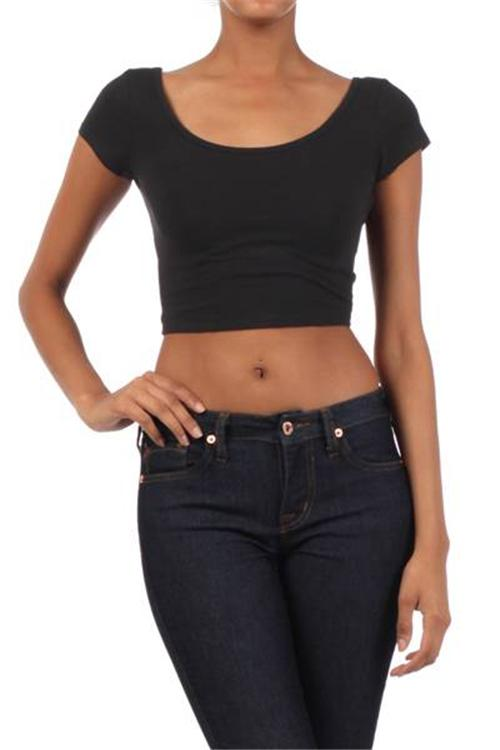 Closeout scoop neck s m l shirt crop top ladies short for Tight t shirt crop top