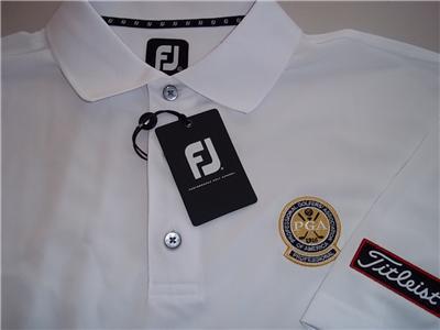 Nwt titleist pga footjoy golf shirt mens white large ebay for Footjoy shirts with titleist logo