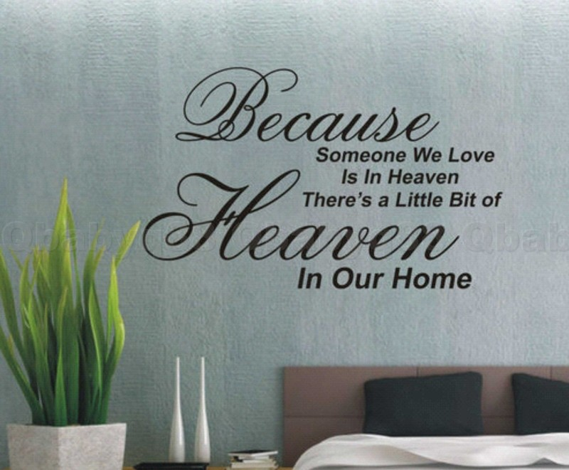 Because Love In Heaven Wall Quotes Decals Stickers Decor Home Family Art  Mural | EBay