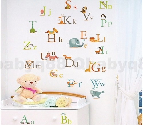 26 animal alphabet wall decal removable stickers baby for Alphabet mural nursery