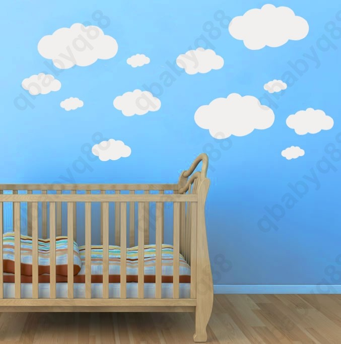 Cloud wall decals removable stickers home diy vinyl decor for Diy wall photo mural