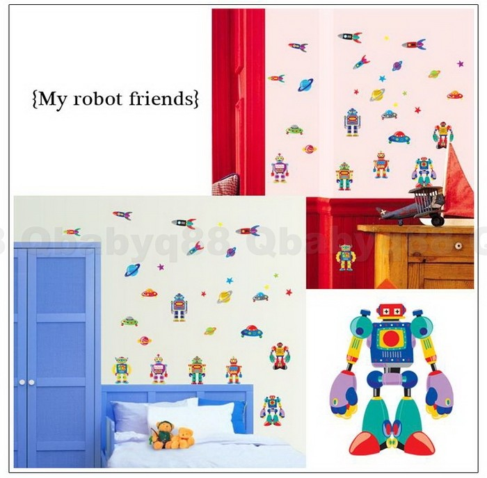 Robot rocket star planet space wall decals removable for Robot baby room decor