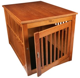 new deluxe indoor wood end table pet dog crate kennel large burnished