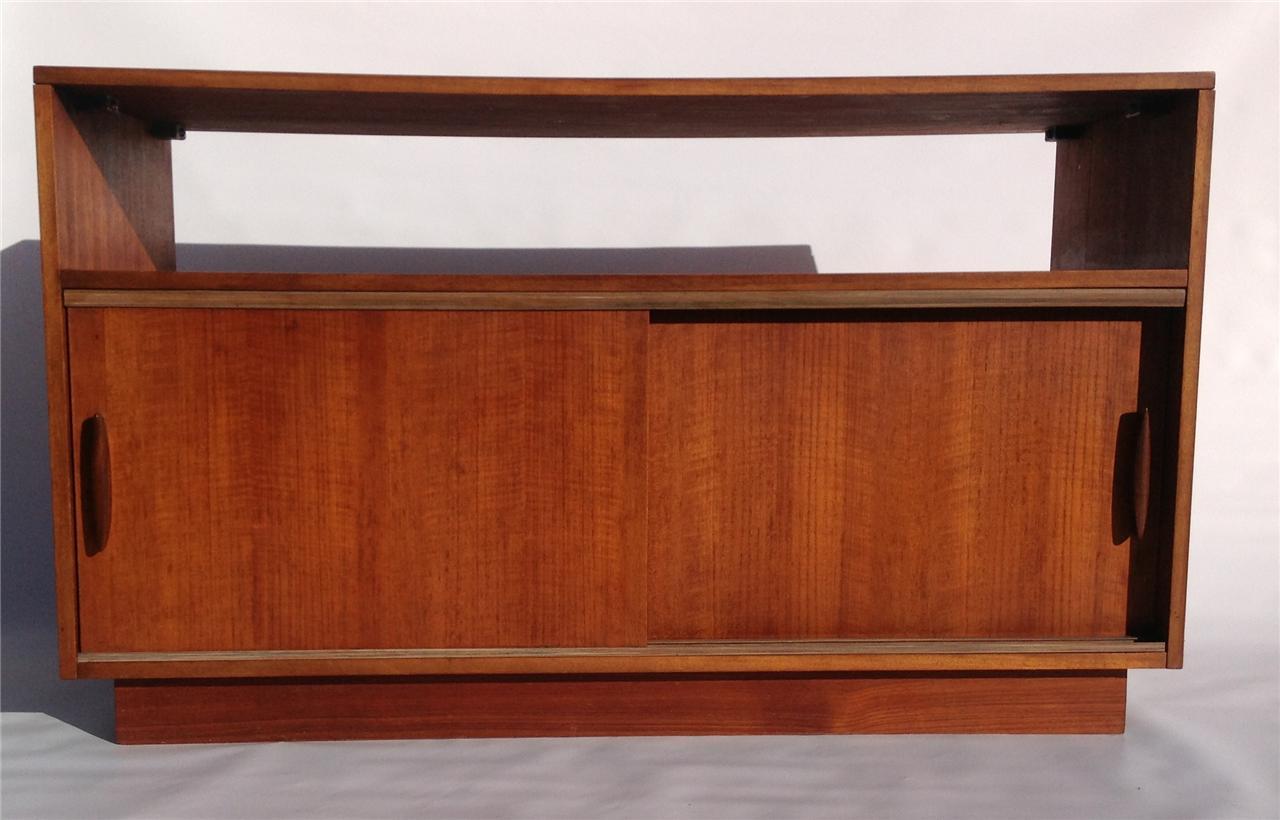 Retro Teak Tv Stand Record Cabinet Mid Century 50s 60s