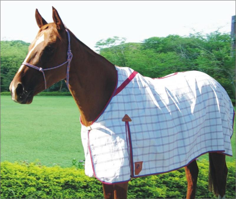 Capriole Ripstop Cotton Rose & Aqua Check Summer Horse Rug