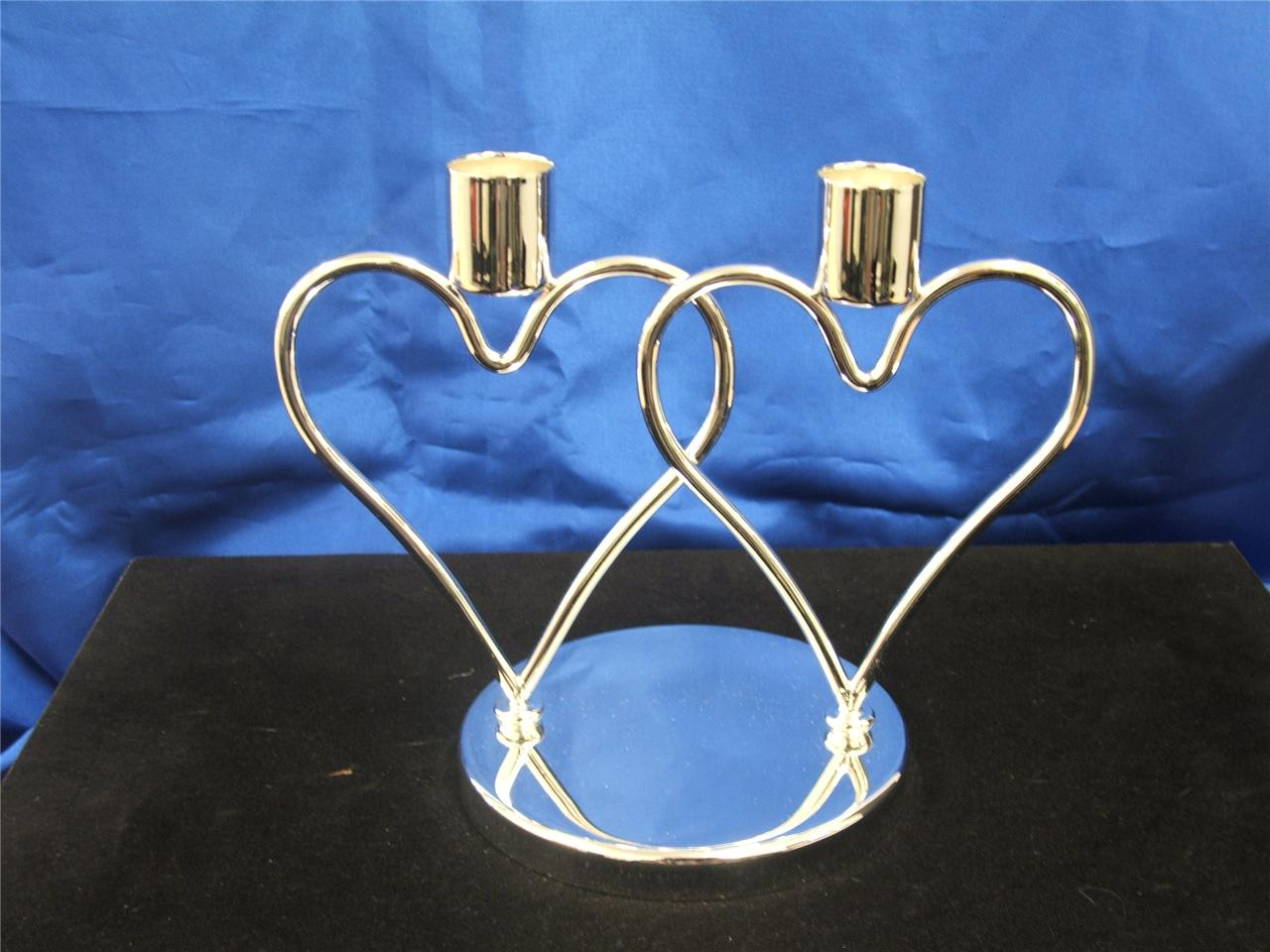 CLEARANCE-INTERLOCKING-HEART-SHINY-SILVER-CANDLE-HOLDER-8064-15-00