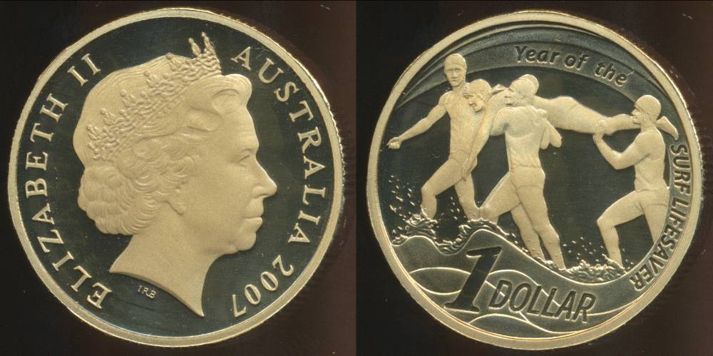 Australia-2007-Canberra-One-Dollar-Lifesaving-Elizabeth-II-Proof