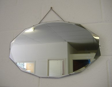Deco Mirrors Antique on Antique Vintage Art Deco Frameless Bevelled Edge Shabby Chic Wall