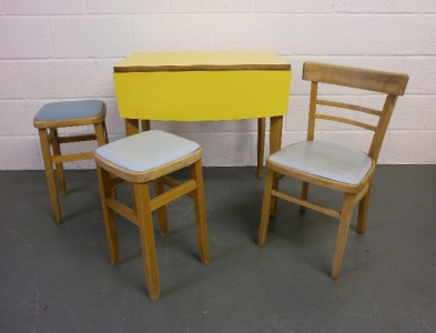 1950s 60s kitchen table and chairs retro cafe style formica dining set