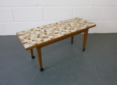Vintage Retro 1960s 70s Mid Century Tile Top Small Coffee Side Table On Wheels Ebay