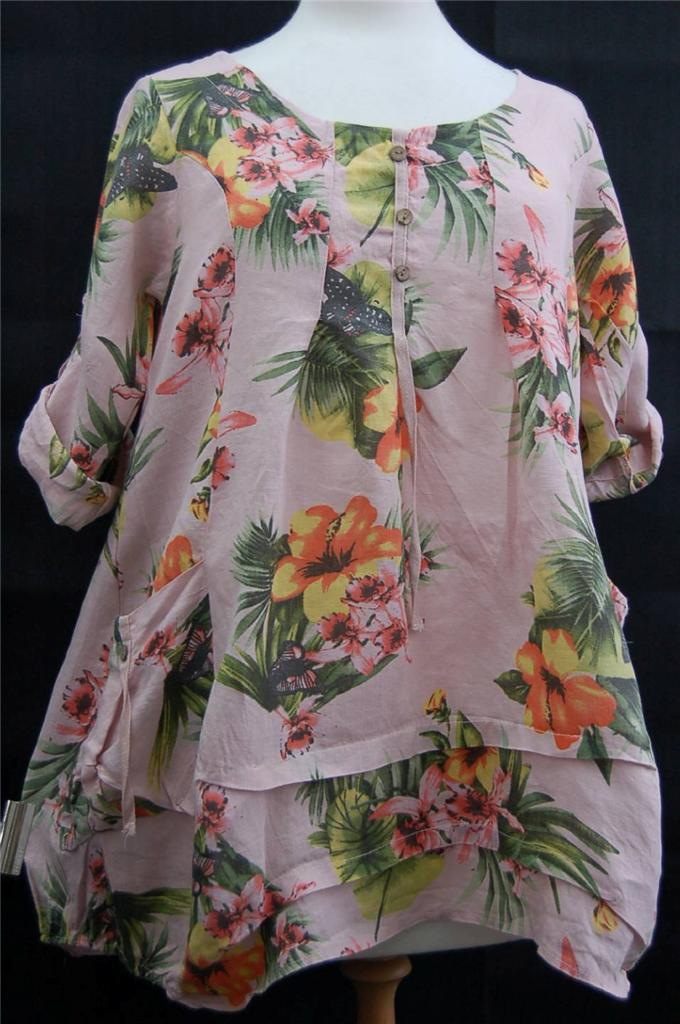 L-XL-UK-Size-Guide-14-20-PINK-Floral-Linen-Tunic-Bust-Sizes-42-44