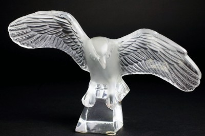 Lalique Eagle w Outspread Wings Beatiful Vintage Art Glass Nice