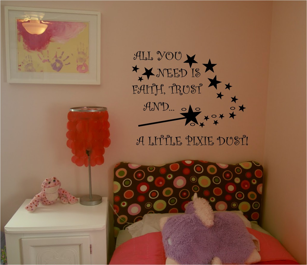 Pixie Dust Girly Art 550mm X 450mm Wall Quote Childrens Bedroom Playroom Decal Ebay