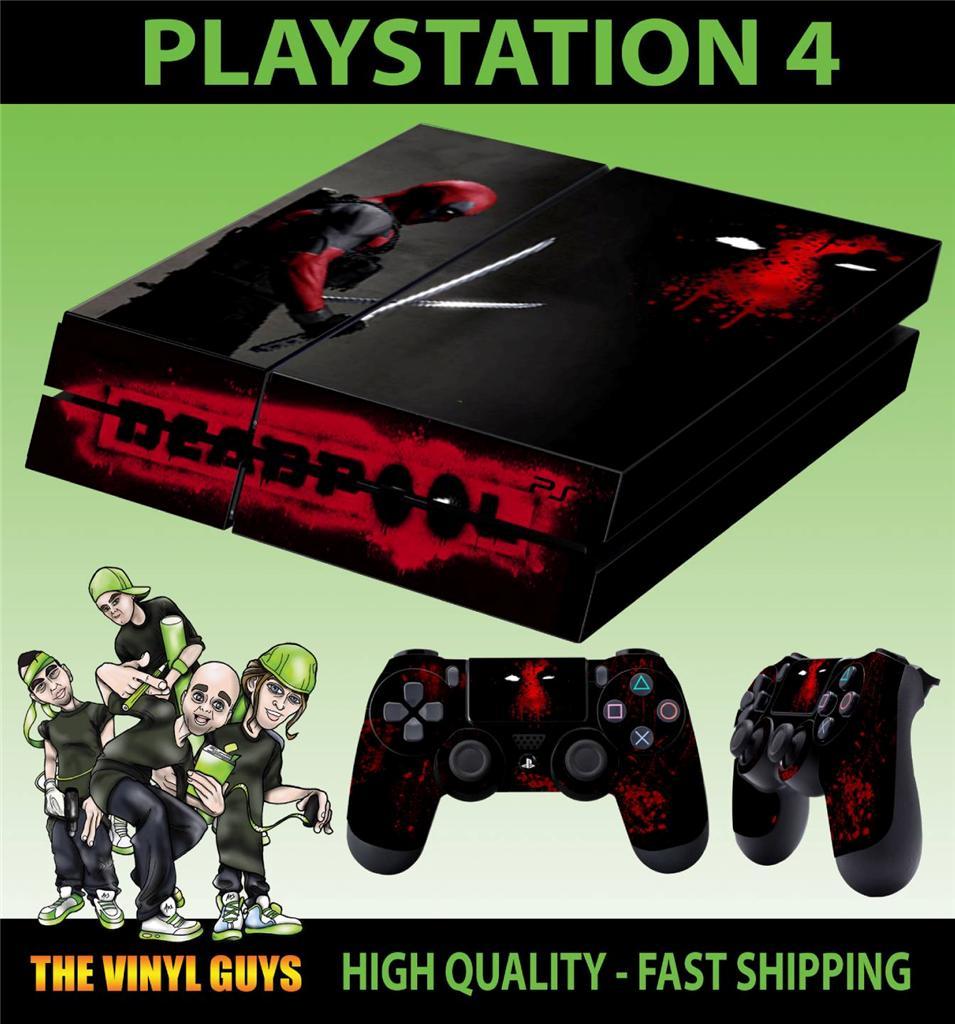 PS4 Playstation 4 Console Sticker Deadpool Mercenary Wade Skin 2 X PAD