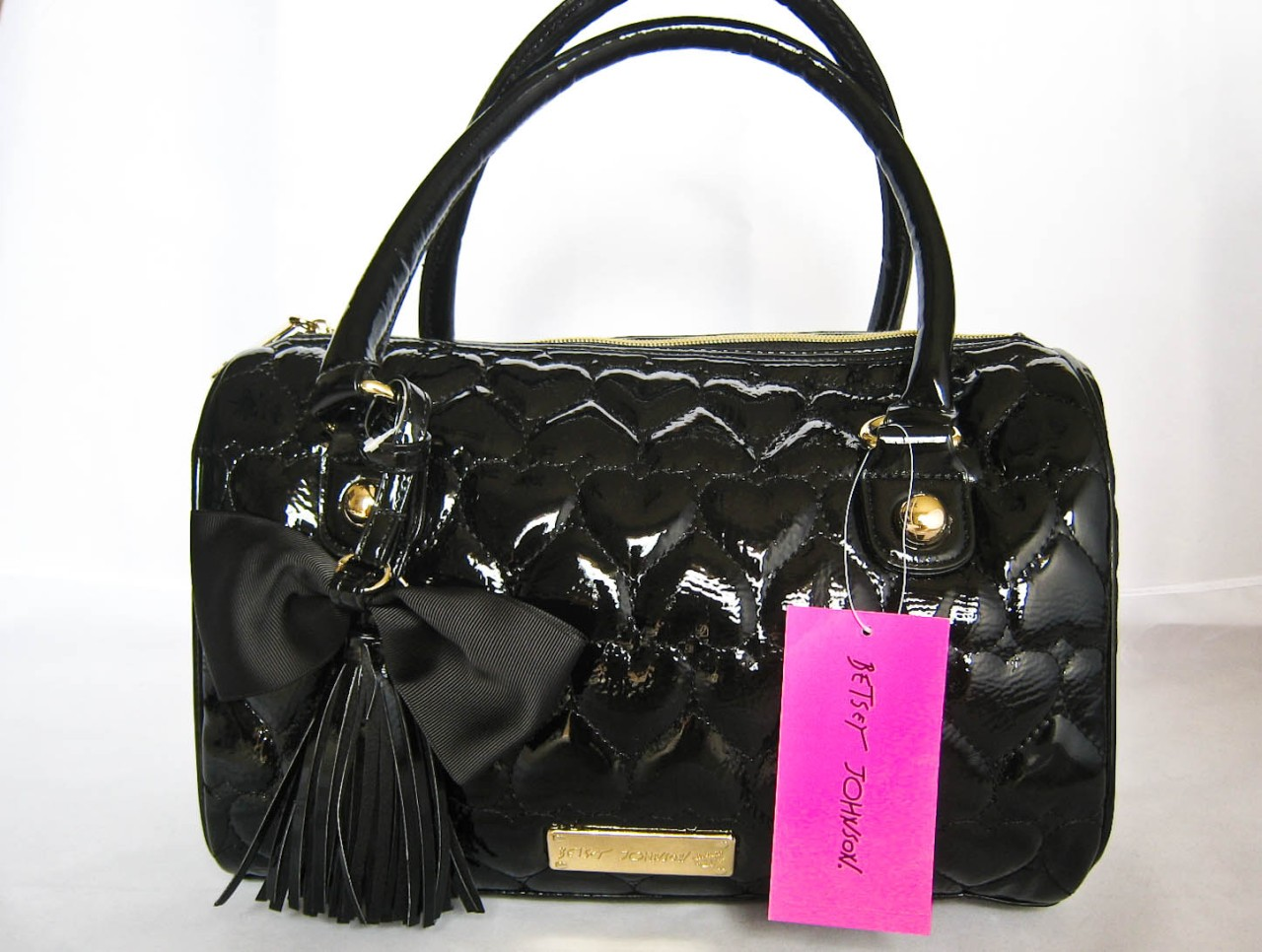 Betsey Johnson Betseyville Be Mine Black Boston Quilted
