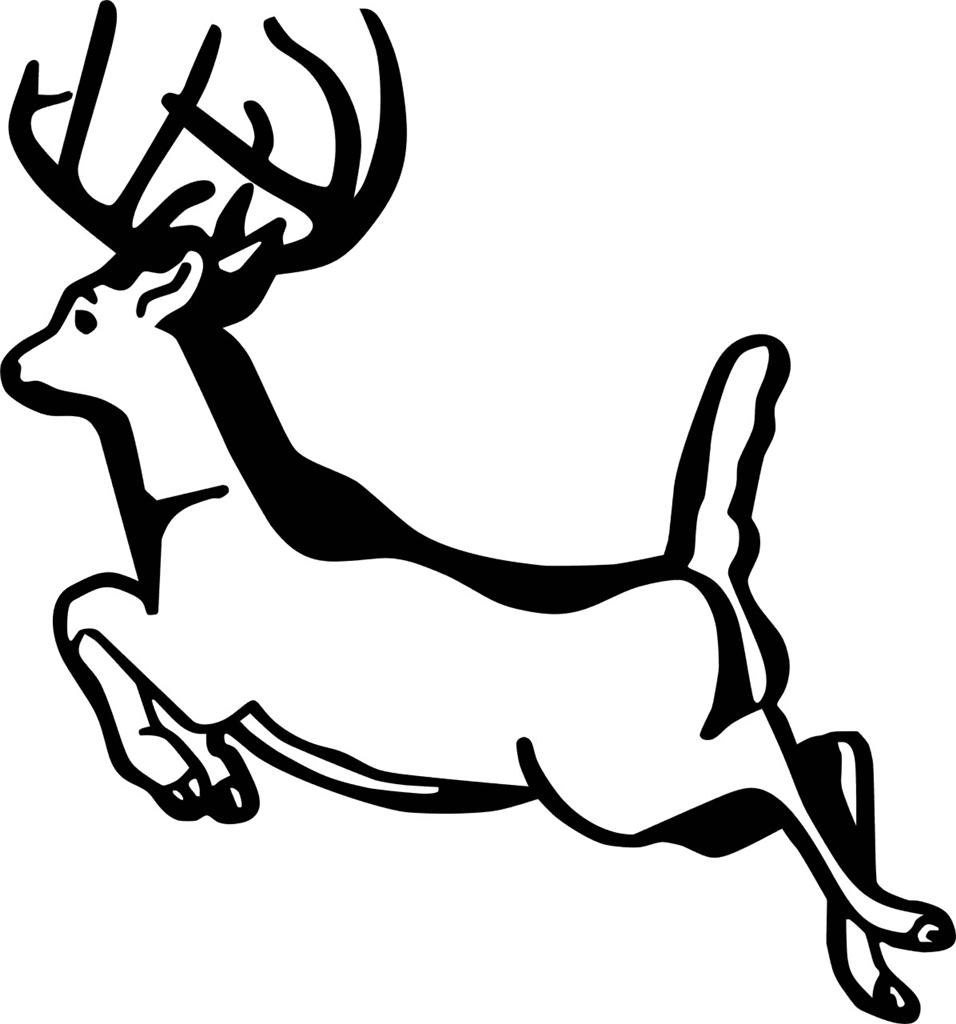 Running deer decal vinyl wall deer sticker 8 x8 hunting 7 for Deer mural decal
