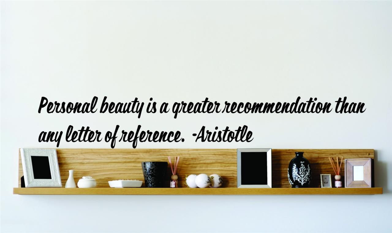 Aristotle Vinyl Famous Quote Wall Decal Personal Beauty 22 ...