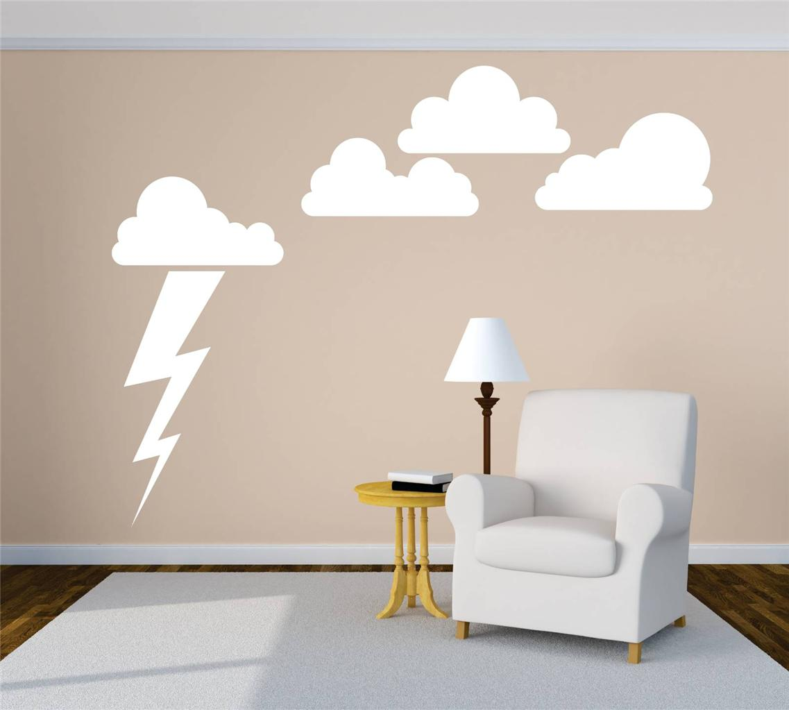 Cloud and lighting bolt wall mural large sky nurshery for Mural lighting
