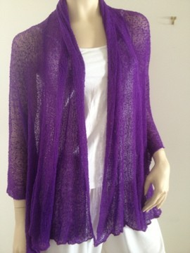 NEW-Ladies-Knitwear-Shrug-Jacket-Top-3-4-Sleeve-Fits-10-20-Bright-Purple