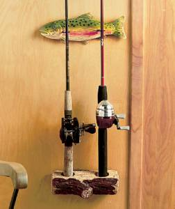 New 2 piece wall mounted fishing rod holder gear tackle for Wall fishing pole holder