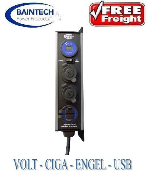 BAINTECH-UNIVERSAL-POWER-PANEL-12V-VOLT-METER-2-USB-ENGEL-CIGA-SOCKETS-BTUPB5-0