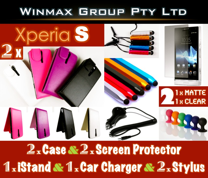 2-X-Sony-Ericsson-Xperia-S-Leather-Flip-Pouch-Case-Cover-Screen-Protector-Stylus