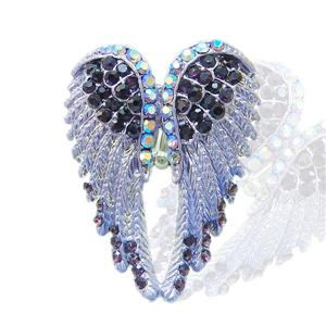 Angel Wing Stretch Ring Sz Free Purple Swarovski Crystal 10 Items Free