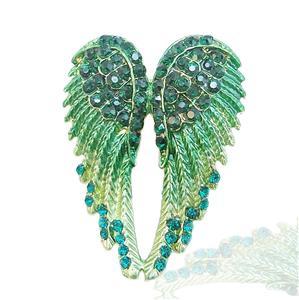 18K Gold GP Angel Wing Brooch Pin Green Swarovski Crystal 10 Items