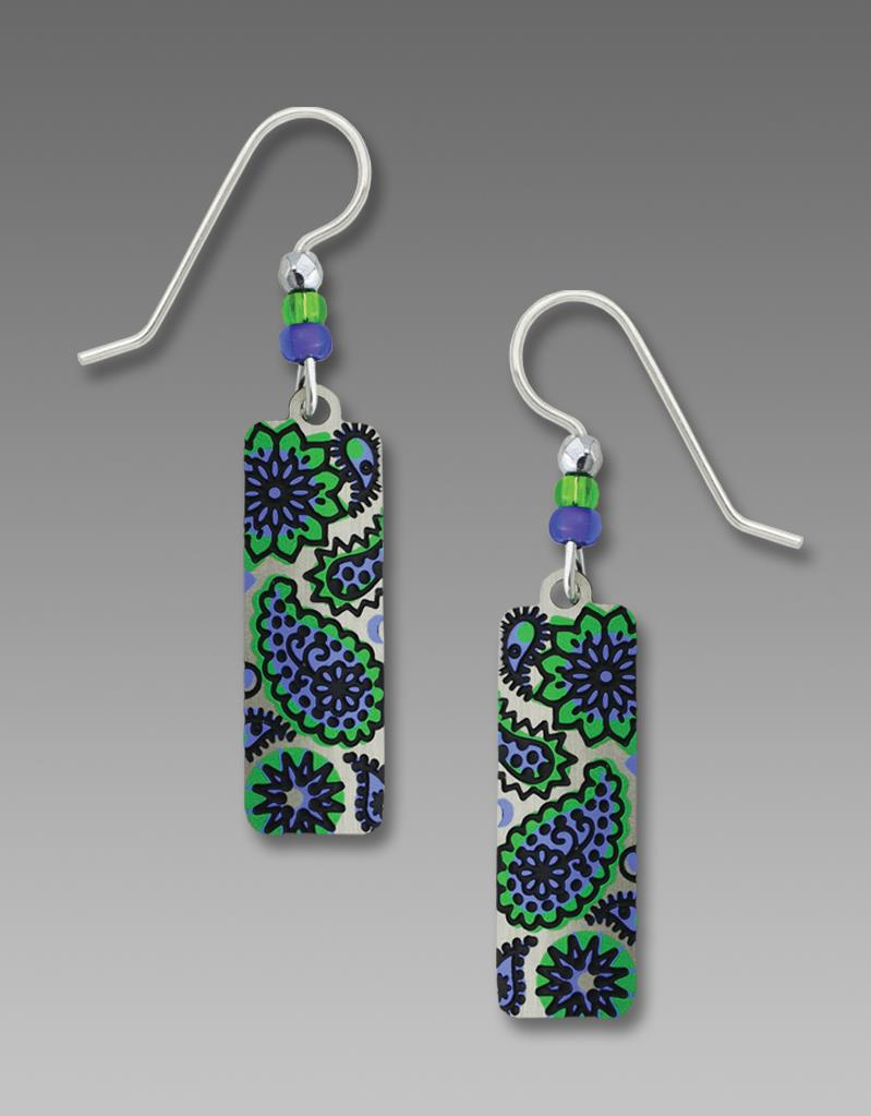 Adajio Earrings  Column With Emerald & Periwinkle 70's Style Paisley Print