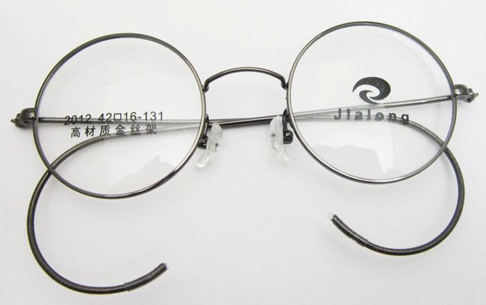 Eyeglass Frames For Small Round Face : 42mm Antique Vintage Round Grey Gunmetal Wire Rim Eyeglass ...