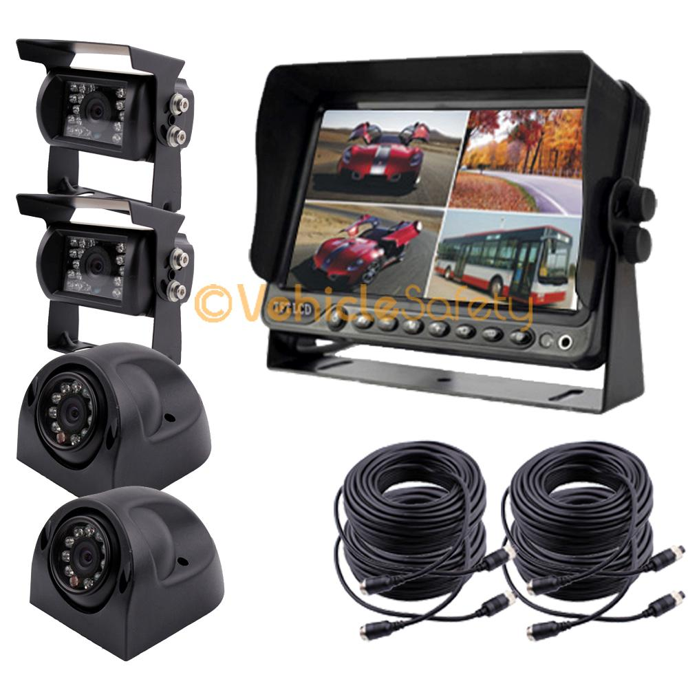 """7"""" QUAD MONITOR WITH DVR BACKUP CAMERA SAFETY SYSTEM FOR"""