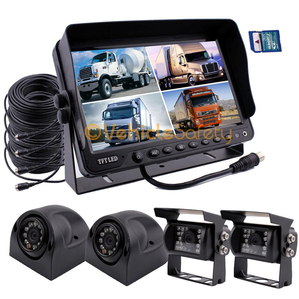 9 Quot Quad Monitor With Dvr Backup Camera Safety System For