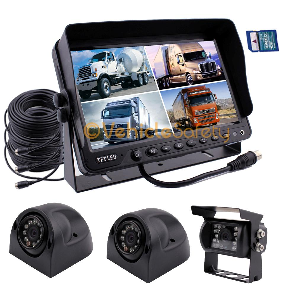 9 Quot Quad Monitor With Dvr Backup Cameras Safety System For