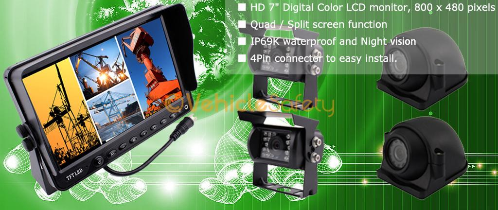 7 Quot Quad Split Screen Monitor Rear View Camera System Side
