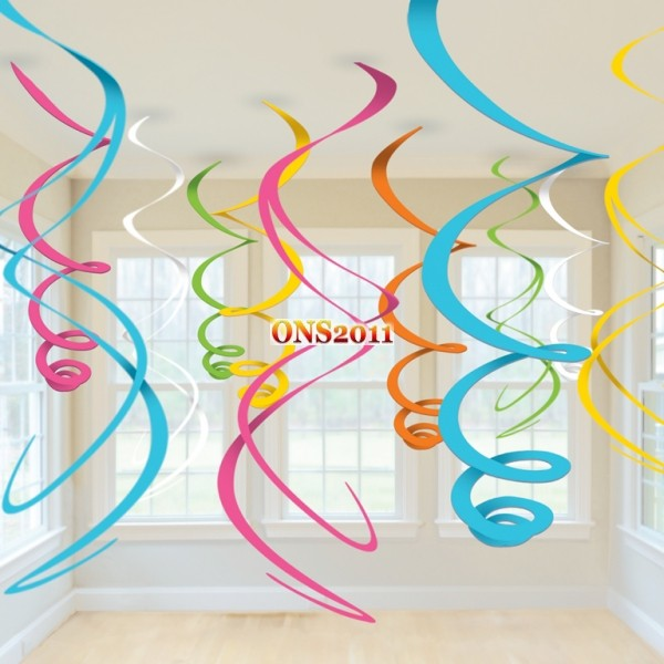 Mixed swirls hanging ceiling decorations birthday party for Baby shower ceiling decoration ideas