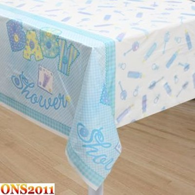 baby shower stitched pattern plastic table cover cloth 54 034 x 84 034