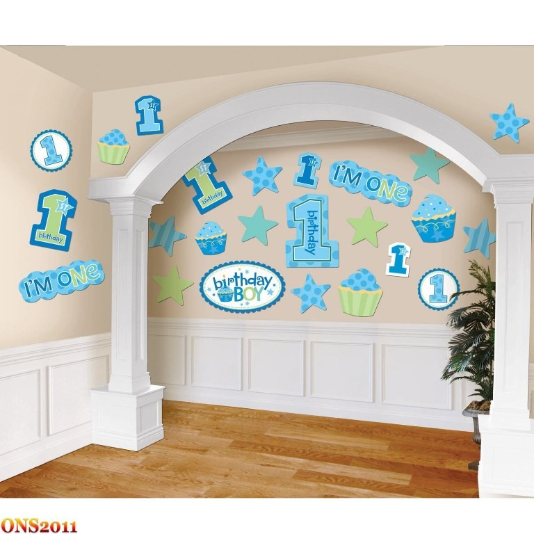 Details about Baby Boy 1st Birthday Party Decoration Kit Cutouts 30 ...