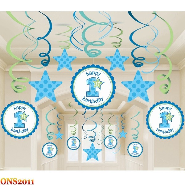 Baby boy 1st birthday party mega value pack swirl ceiling for Baby boy 1st birthday decoration ideas