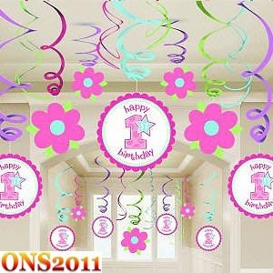 Baby girl 1st birthday party mega value pack swirl ceiling for 1st birthday decoration packs