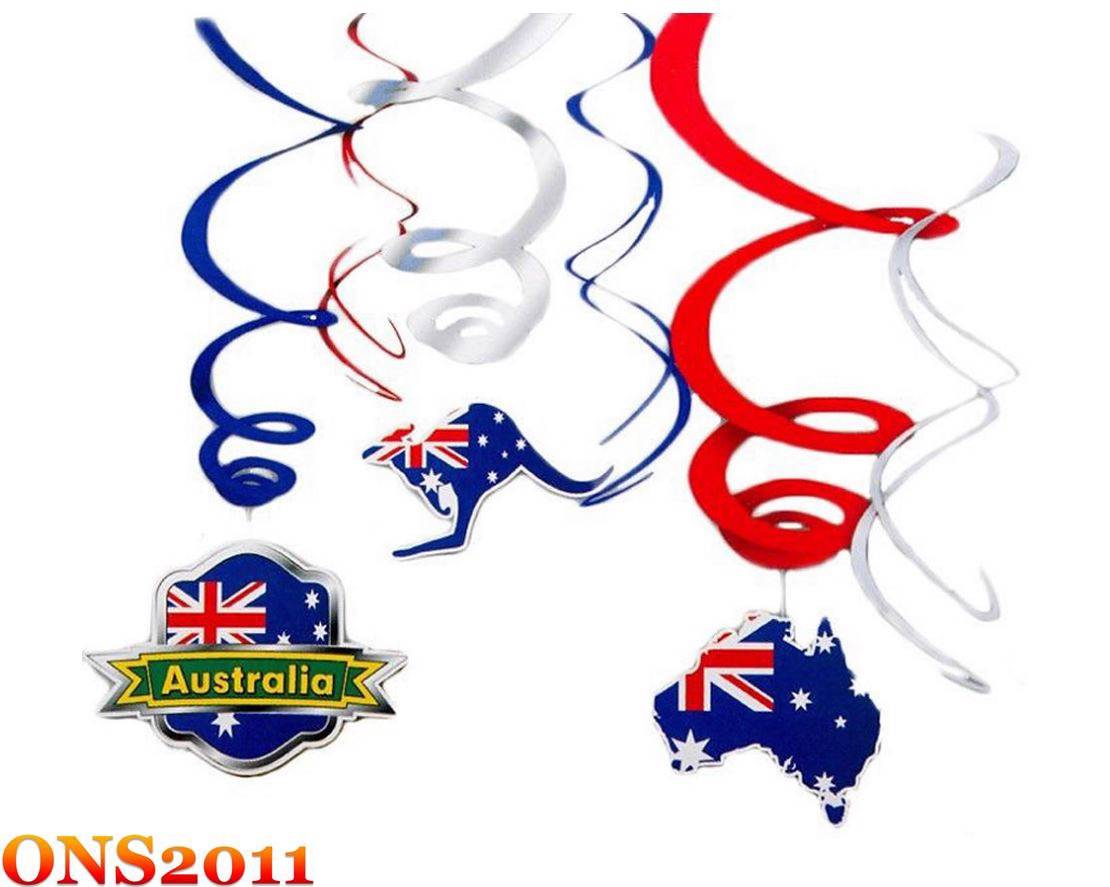Australia day red silver blue party decoration hanging for Australia day decoration