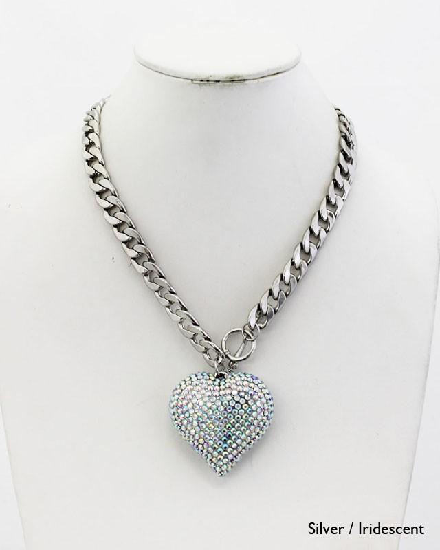 chunky heart charm chain necklace fashion costume jewelry On chunky costume jewelry necklaces