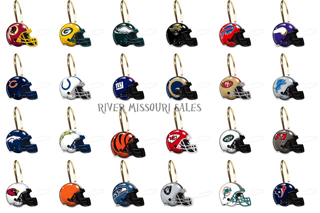 Nfl Shower Curtain Rings Hooks Sets Of 12 Choose Your Team