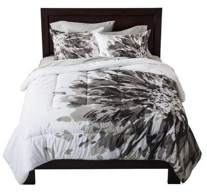 room essentials exploded floral comforter black white choose your size options ebay. Black Bedroom Furniture Sets. Home Design Ideas
