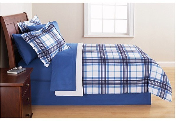 Blue Plaids 8 Piece All In One Plaid Bed In a Bag Bedding ...