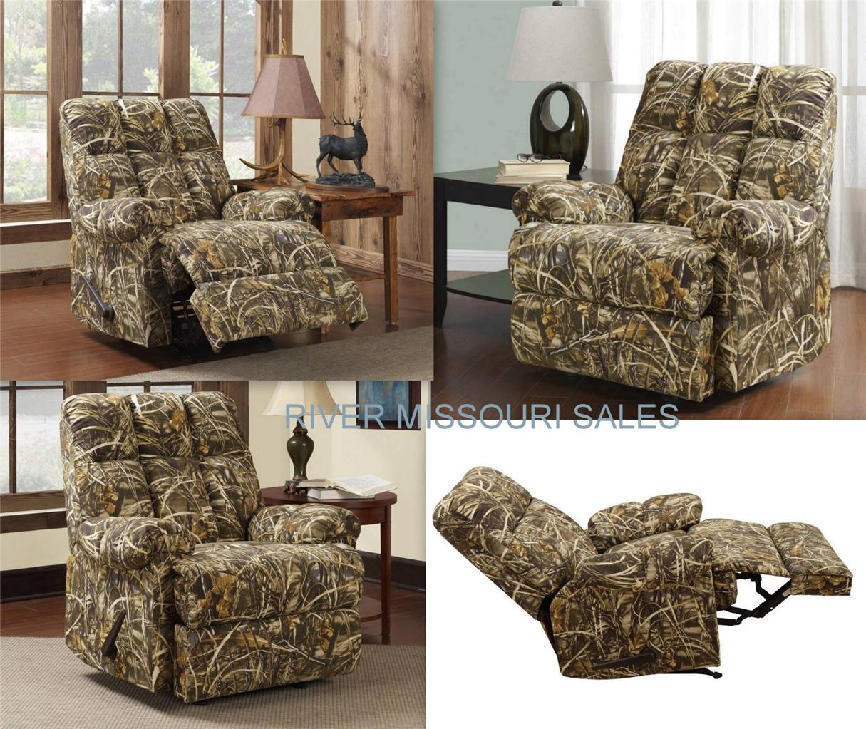 Realtree Living Camouflage Camo Rocker Recliner Chair Modern Outdoors Patter